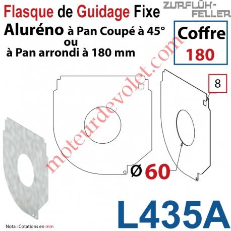 Flasque Fixe Percé ø 60 mm pr Passage Tube pr Aluréno Pan Coupé à 45° & Arrondi de 180