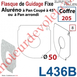 Flasque Fixe Percé ø 50 mm pr Passage Tube pr Aluréno Pan Coupé à 45° & Arrondi de 205