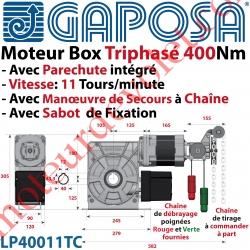 Moteur Box LP40011TC 400Nm 11 Tours Minute 400v Triphasé à Arbre Creux ø 40 Avec Parechute et MdS par Chaîne