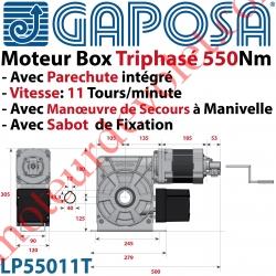 Moteur Box LP55011T 550Nm 11 Tours Minute 400v Triphasé à Arbre Creux ø 40 Avec Parechute et MdS par Manivelle