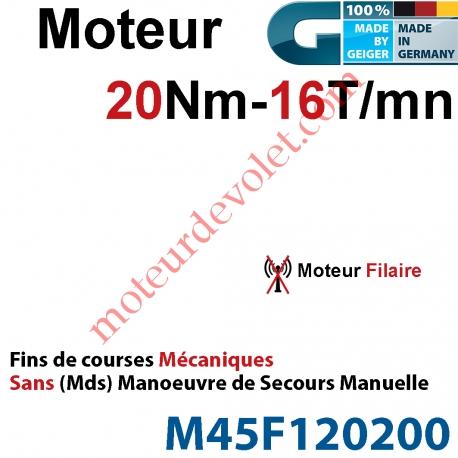 Moteur Geiger Filaire 20/16 Avec FdC Mécaniques Réglage Rapide Sans Mds