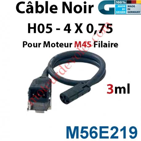 Câble H05 RRF Noir 4 x 0.75 mm² lg 3,00 m Avec Prise Noire pour Moteur M45 Filaire