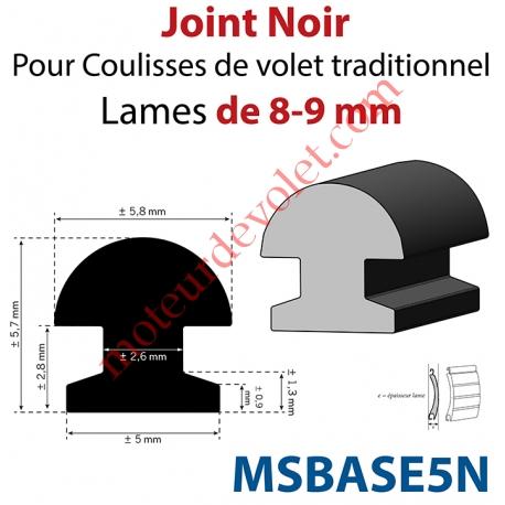 Joint Noir pour Coulisses de Traditionnel Lames de 8 mm - 9 mm