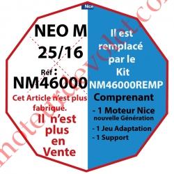 Moteur Nice Filaire Néo M 25/16 M 50 rempacé par NM46000REMP