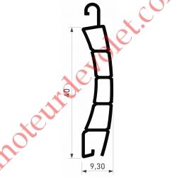 Lame Pvc Double Paroi Pr48 de 40 x 8,5 Coloris Blanc Avec Ajourage, le mètre linéaire