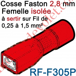 Cosse Femelle Languette 2,8x0,5 Pré-isolé pr fils Section 0,25 à 1,5 mm² Col Rouge