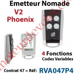 Emetteur Mini Nomade V2 Phœnix 4 fonctions 433,92 MHz (Code Variable) Contrat 47