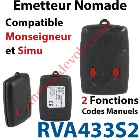 Emetteur Mini Nomade TRR 2 fonctions (code manuel) Compatible Monseigneur & Simu