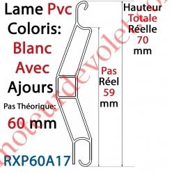 Lame Pvc Double Paroi Rxp60 de 60 x 15 Coloris Blanc Avec Ajourage, le mètre linéaire