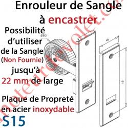 Enrouleur de Sangle à Encastrer Métallique Plaque de Propreté en Acier Inoxydable pour Sangle Larg Max 22 mm (Non Fournie)