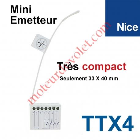 Emetteur Mini 230 vca 4 cx 433,92MHz Rolling Code Transmet 4 Ordres Filaires Max