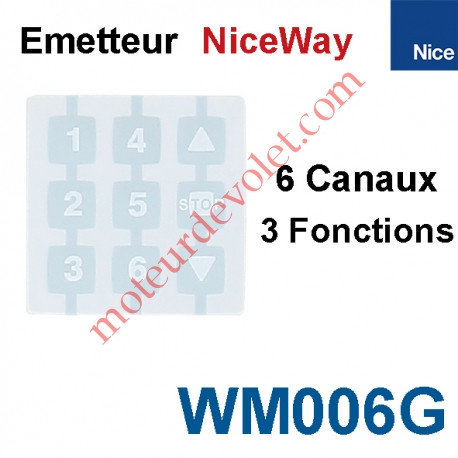 Emetteur Nomade NiceWay 6 Can 3 Fonct 433,92MHz Rolling Code à Cliper ds Support