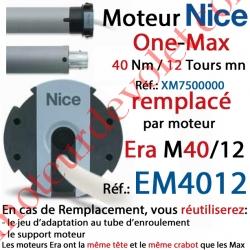 Moteur Nice Filaire One Max 40/12 Av FdC Manuels M 50 sans Mds/Remplacé par EM4012