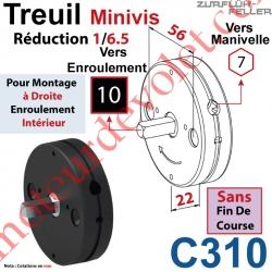 Treuil Minivis Réd 1/6,5 Ent Hexa 7 Femelle Sor Carr 10 Mâle Lg 23 mm Ss FdC Ep 22