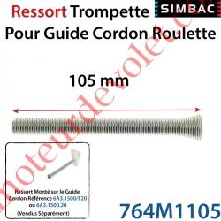 Guide Cordon Roulette Nylon et Ressort Trompette lg 105 mm Coloris Blanc