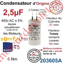 Condensateur d'Origine pour Moteur Tubulaire Simu ou Somfy à Cosses Faston 2,8 mm Capacité 2,5µF ±5% 400-450v