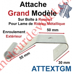 Attache Lame Grande Boucle Largeur 56mm Acier Galva pour Boîte Ressort Enroulement Extérieur