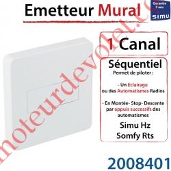 Emetteur Séquentiel Mural Aspect 2015 Simu Hz-Rts Blanc (1 canal)
