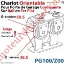Chariot Orientable pour Porte de Garage Coulissante sur Rail en Fer Plat