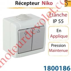 Inverseur Niko Etanche ip 55 en Applique à Pression Maintenue