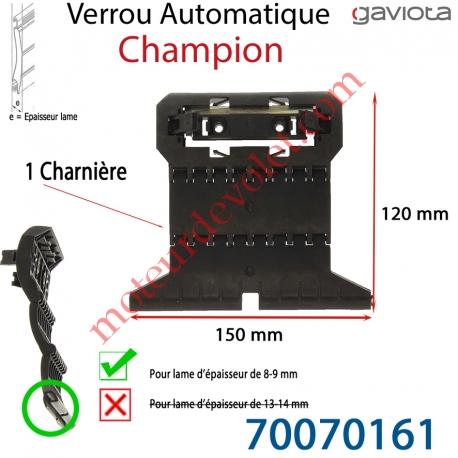 Verrou Automatique Champion d' 1 Charnière pour Lame 8-9 mm d'épaisseur