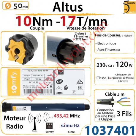 Moteur Somfy Altus Rts 10/17 LT 50