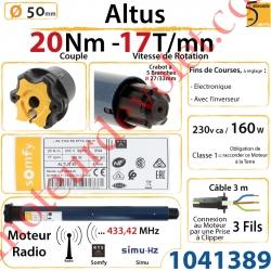 Moteur Somfy Altus Rts 20/17  LT 50