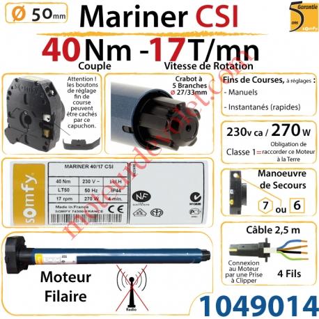 Moteur Somfy Mariner Csi 40/17 LT 50  Avec Mds
