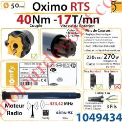 Moteur Somfy Oximo Rts 40/17 LT 50
