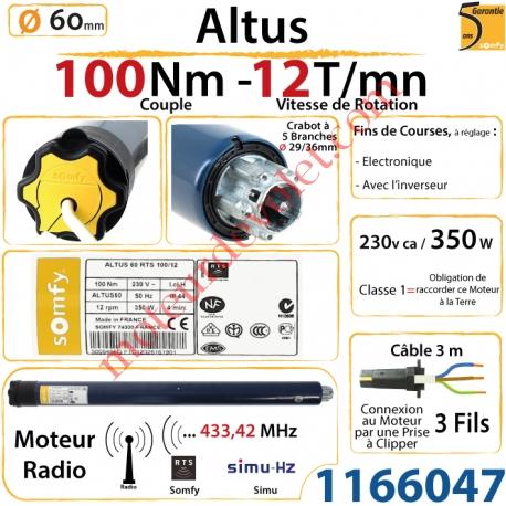 Moteur Somfy Altus Rts 100/12 LT 60