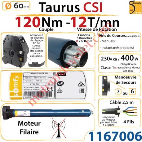 Moteur Somfy Taurus Csi 120/12 LT 60  Avec Mds