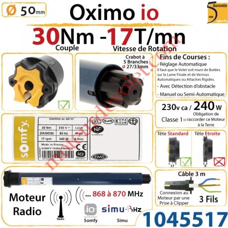 Moteur Somfy Oximo io 30/17 LT 50