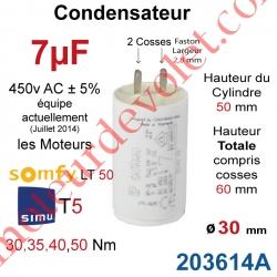 Condensateur d'Origine pour Moteur Tubulaire Simu ou Somfy à Cosses Faston 2,8 mm Capacité 7µF ±5% 400-450v