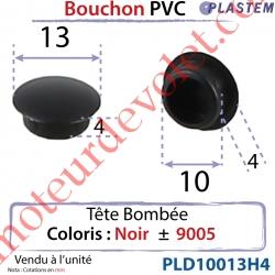 Bouchon Pvc Tête Bombée Percement Diamètre 10mm Collerette 13mm Hauteur 4mm Coloris Noir ± Ral 9005
