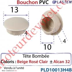 Bouchon Pvc Tête Bombée Percement Diamètre 10mm Collerette 13mm Hauteur 4mm Coloris Beige Rosé Clair ± Alcan 32