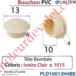 Bouchon Pvc Tête Bombée Percement Diamètre 10mm Collerette 13mm Hauteur 4mm Coloris Ivoire Clair ± Ral 1015