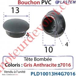 Bouchon Pvc Tête Bombée Percement Diamètre 10mm Collerette 13mm Hauteur 4mm Coloris Gris Anthracite ± Ral 7016