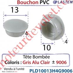 Bouchon Pvc Tête Bombée Percement Diamètre 10mm Collerette 13mm Hauteur 4mm Coloris Alu Clair ± Ral 9006