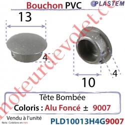 Bouchon Pvc Tête Bombée Percement Diamètre 10mm Collerette 13mm Hauteur 4mm Coloris Alu Foncé ± Ral 9007