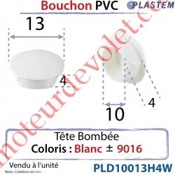 Bouchon Pvc Tête Bombée Percement Diamètre 10mm Collerette 13mm Hauteur 4mm Coloris Blanc ± Ral 9016