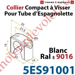 Collier Compact à Visser en Matériau Composite Blanc ±Ral 9016 pour Tube Espagnolette Diam 14mm Rainuré en Aluminium (Sans vis)