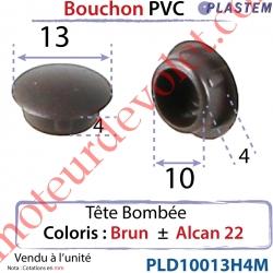 Bouchon Pvc Tête Bombée Percement Diamètre 10mm Collerette 13mm Hauteur 4mm Coloris Brun ± Alcan 22