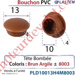 Bouchon Pvc Tête Bombée Percement Diamètre 10mm Collerette 13mm Hauteur 4mm Coloris Brun Argile ± Ral 8003