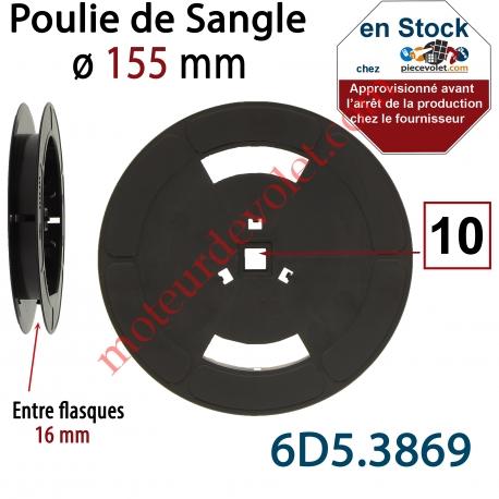 Poulie de Sangle ø 155 mm  Entre Flasques 16 mm Entraînement en Carré de 10 mm