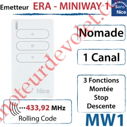Emetteur Era-MiniWay MW1 Nomade 3 Fonctions 1 Canal 433,92MHz Rolling Code + Support Berceau