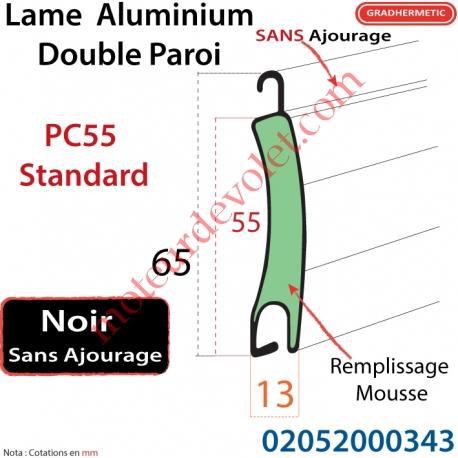 Lame Alu Double Paroi Injectée de Mousse Polyuréthane Pc55 de 55x13 Coloris Noir Sans  Ajourage