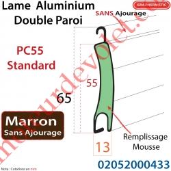 Lame Alu Double Paroi Injectée de Mousse Polyuréthane Pc55 de 55x13 Coloris Marron  Sans Ajourage