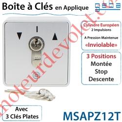 """Boite à clés en Zamac à Cylindre Européen 2 Impulsions """"Inviolable"""" en Applique"""