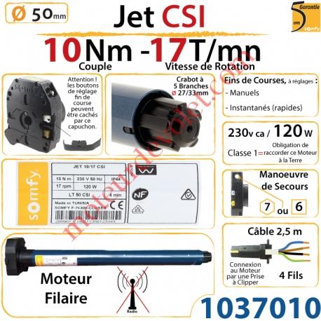 Moteur Somfy Jet Csi 10/17 LT 50  Avec Mds