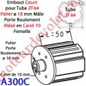 Embout Court Zf 64 Téton ø 18 mm Mâle Alésé en Carré de 10 mm Femelle